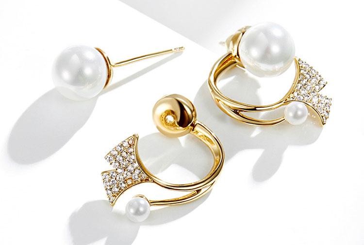 繁花似錦典雅紅白擬珍珠鋯石耳環