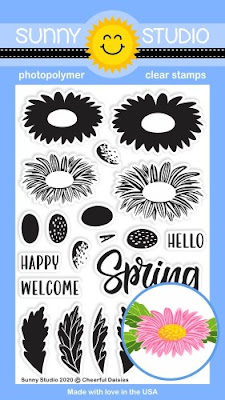 Sunny Studio Stamps: Cheerful Daisies Layered Layering Daisy Flower 4x6 Clear Photopolymer Stamp Set