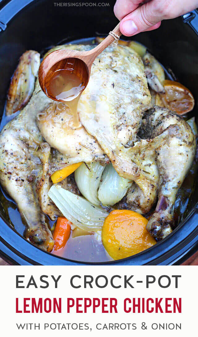 Craving some simple yet healthy comfort food? Prep this easy lemon pepper chicken with fresh lemons, potatoes, onions, garlic, carrots & dry spices in only 20 minutes, pop it in your slow cooker or crock-pot, then come back in 3-4 hours to enjoy a warm, homecooked meal the whole family will enjoy. (gluten-free, grain-free & whole30 friendly)