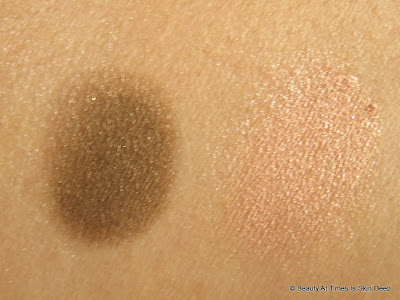 Oriflame the ONE Color Impact Cream Eye Shadow Rose Gold and Golden Brown swatches