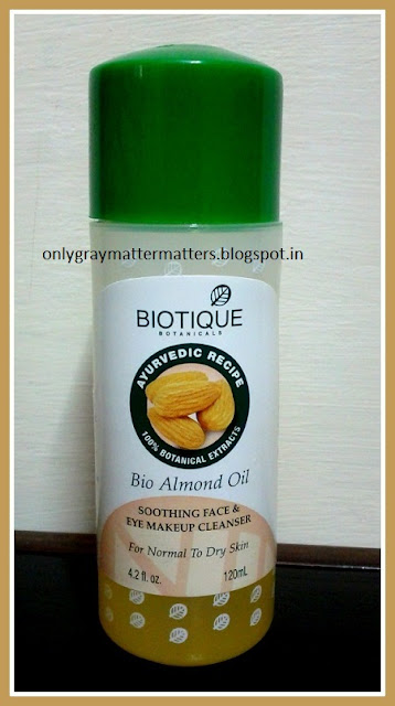 Biotique Bio Almond Oil Soothing Face and Eye Makeup Cleanser Review