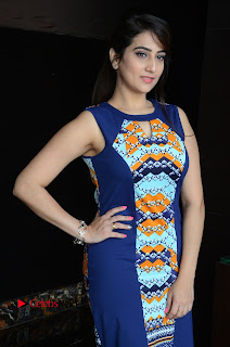 Actress Anchor Manjusha Pictures in Blue Short Dress at Jaguar Movie Success Meet .COM 0007.jpg