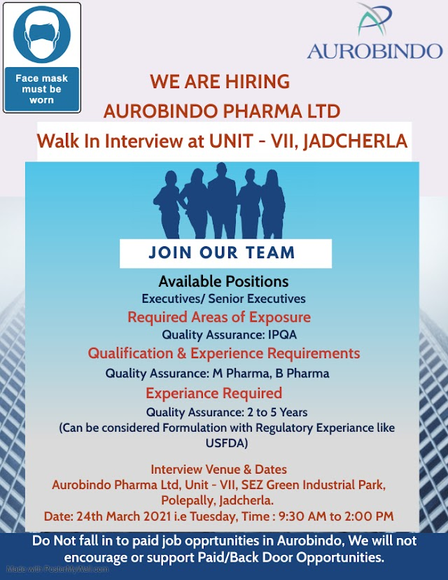 Aurobindo Pharma | Walk-in interview for IPQA on 24th Mar 2021