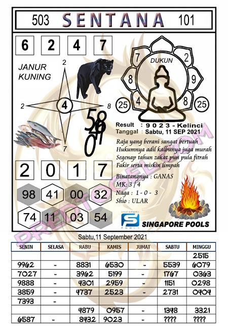 Syair Sentana Singapura Sabtu 30-September-2021