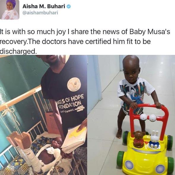 Aisha Buhari: 2-year-old Musa has made quick recovery