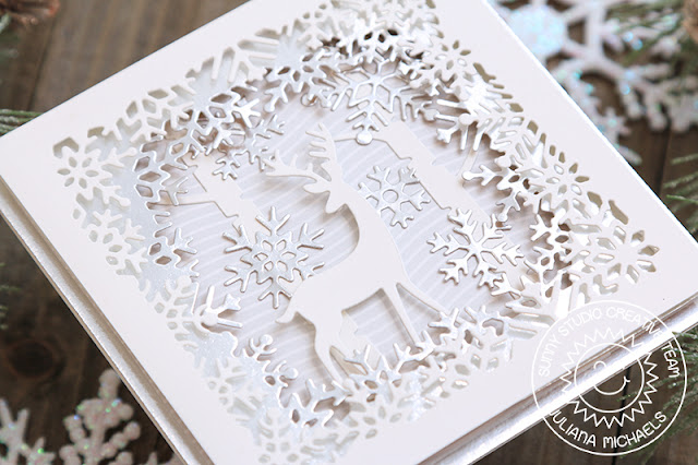 Sunny Studio Stamps: Layered Snowflake Frame Dies Circle Snowflake Frame Dies Sweet Treats Gift Bag Rustic Winter Card by Juliana Michaels
