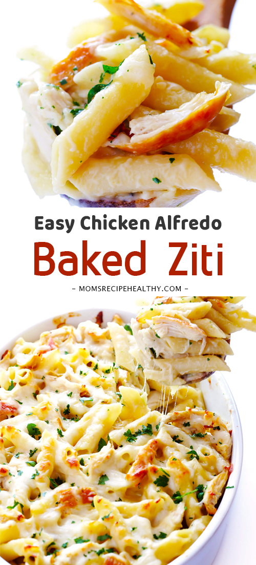 Easy Chicken Alfredo Baked Ziti