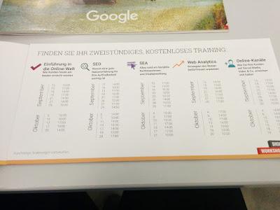 Das Programm der Google-Workshops in Nürnberg.