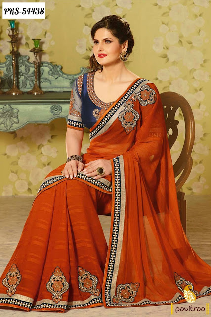 orange color georgette zarine khan bollywood saree online shopping with discount offer sale at pavitraa.in