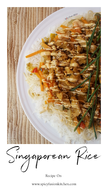 Singaporean Rice Recipe, singaporean rice, noodles, chicken, fusion food, spicy food, friday lunch, jummah lunch, spicy fusion kitchen, food, recipe, pinterest food, rice, food pictures, food photography, rice recipe, chicken recipe, stirfry, pinterest, food blog, food blogger, food flatlay, flatlay