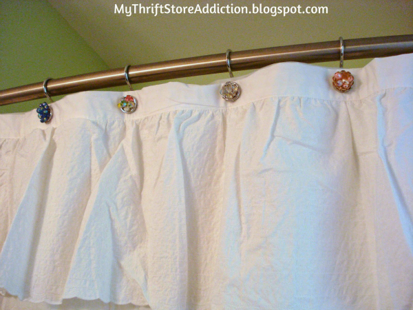 Repurposed vintage earrings shower curtain hooks