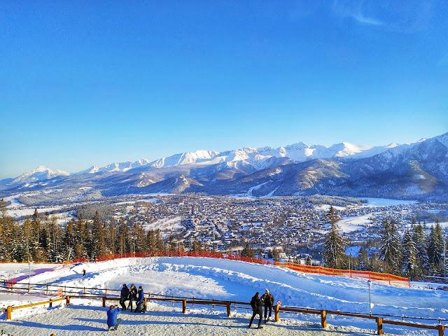 widok na Tatry zimową porą, wjazd na Gubałówkę