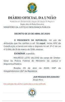 Publicação da demissão de diretor da PF no Diário Oficial