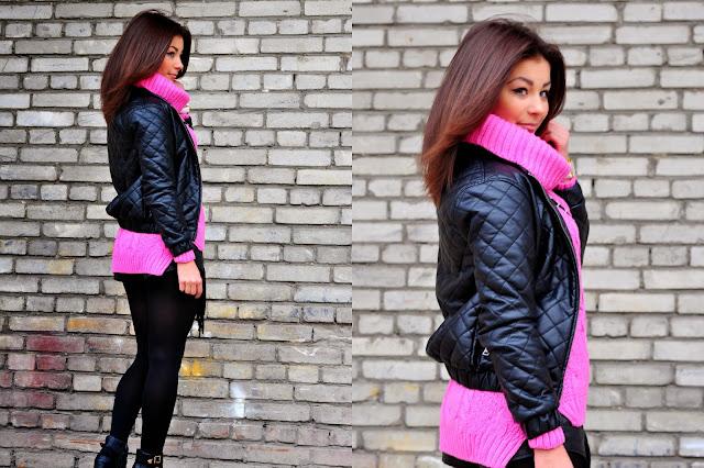 Różowy sweter i pikowana kurtka  - Czytaj więcej