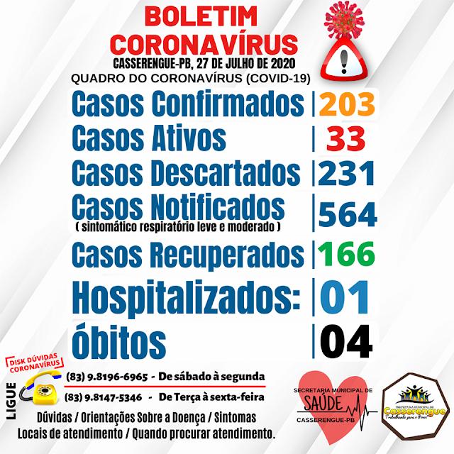 Boletim Epidemiológico, 27/07/2020 - Casserengue-PB