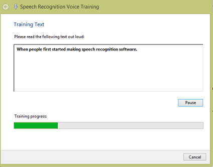 speech recognition training in process