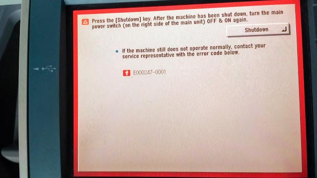 Hoe to Solve error code e000247-0001 in Canon IR3245i, IR3325i, ir3235i