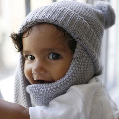 gorro bufanda todo en uno para bebés y niños mimuselina un pompón
