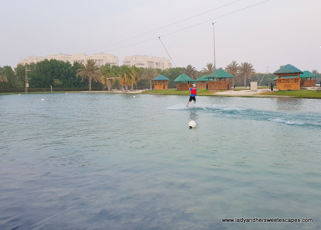 Ed learns wakeboarding in Abu Dhabi