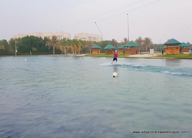 Ed learns wakeboarding in Abu Dhabi