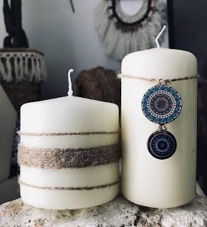 deux bougies customisé de ficelle