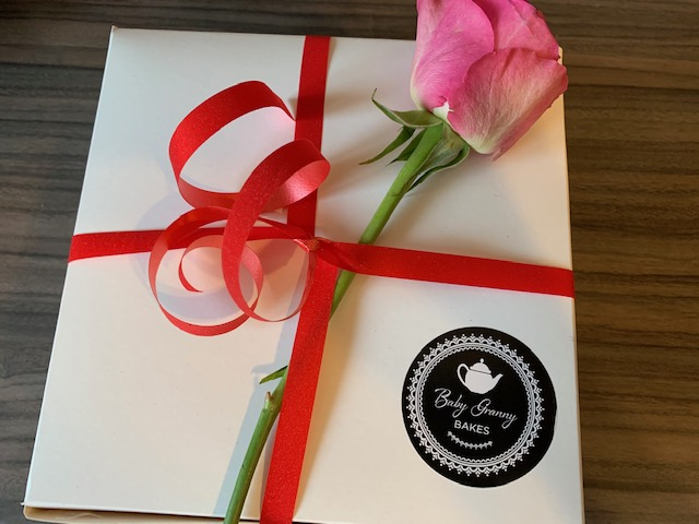 Valentine's box with a single pink rose