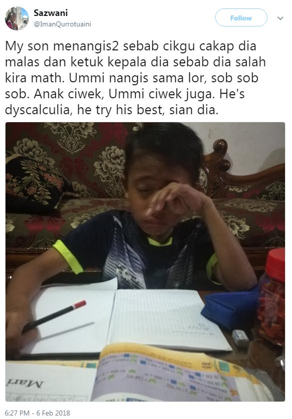 guru ketuk kepala murid pengidap dyscalculia