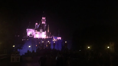 Night view of Sleeping Beauty Castle at Disneyland