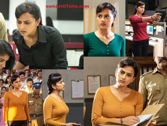 Actress Shraddha srinath exposing boobs shape in Chakra movie hot HQ stills gallery