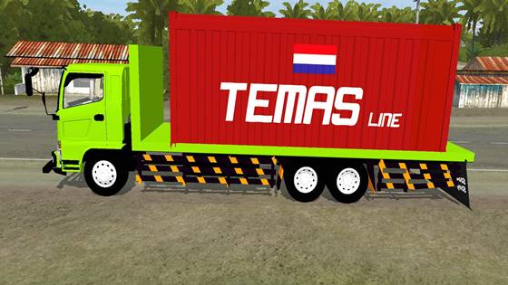 download mod bussid truck hino 500 flatbed container