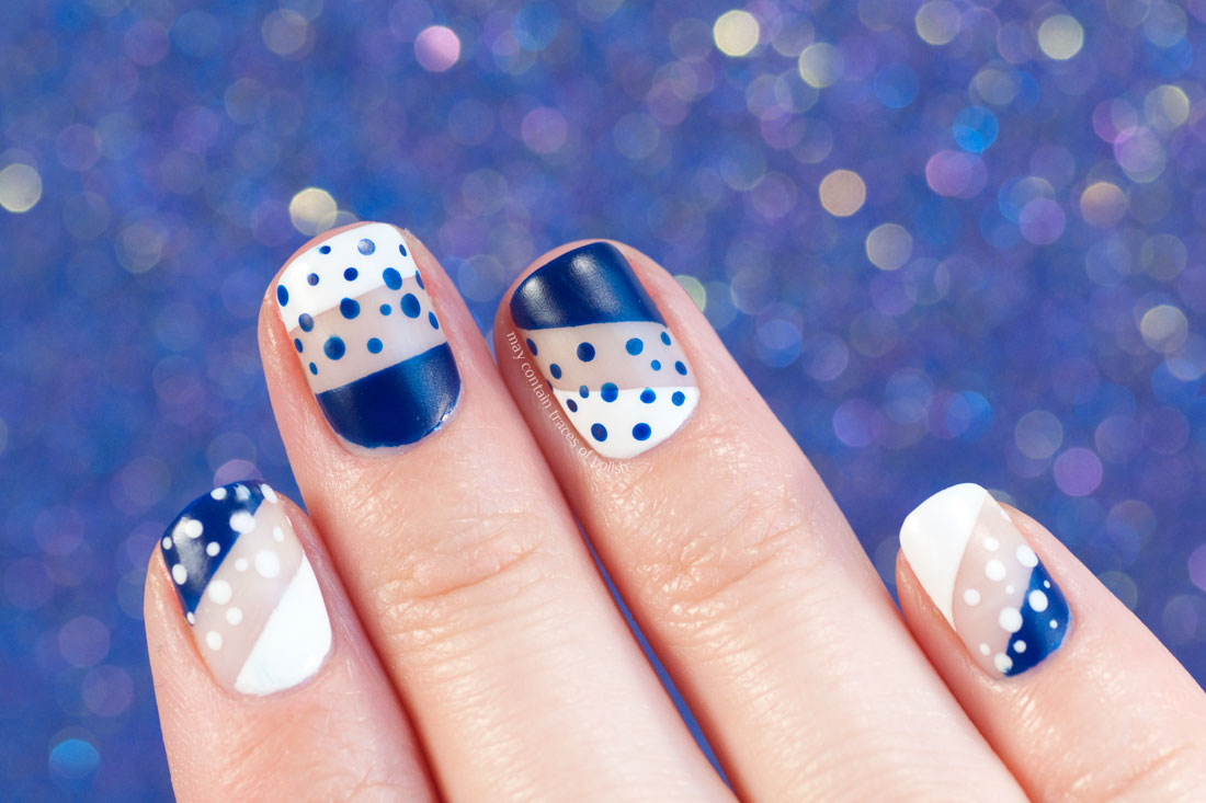 Bold Graphical Dots Nail Art in with and blue