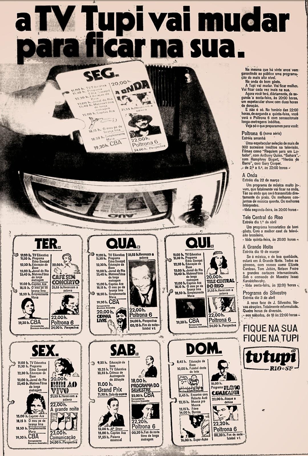 Propaganda antiga da TV Tupi apresentando sua programação em 1971