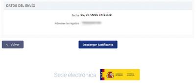 Descarga del justificante de presentación telemática de la nacionalidad española por residencia.