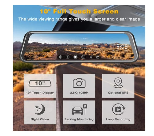 EYETOO CE60H Full Touch Screen Waterproof Mirror Dash Cam