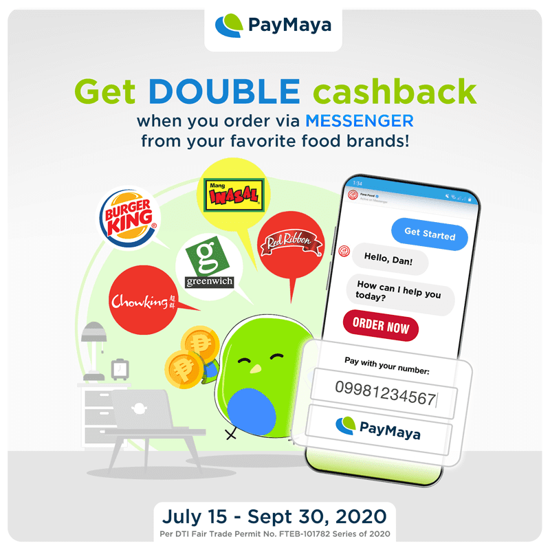 PayMaya to give double cashback when you order from selected fast food chains via Facebook Messenger