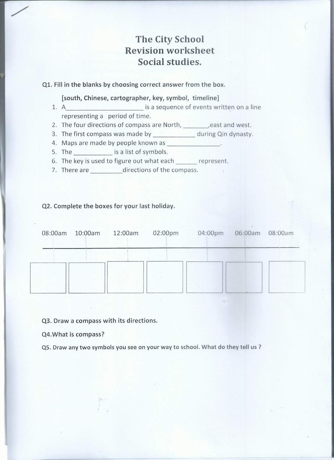 Social Stu S Reinforcement Worksheet Class 1