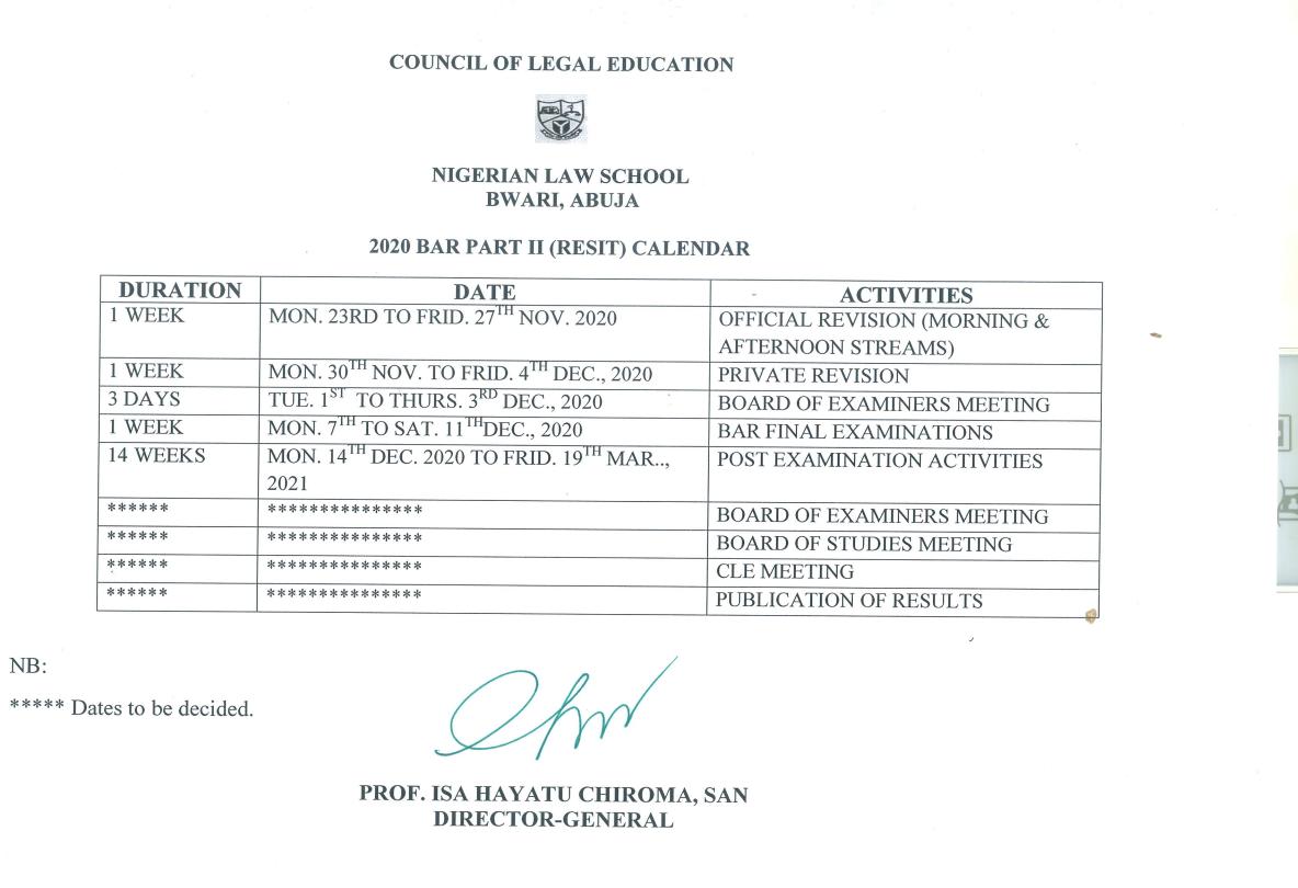 NLS Academic Calendar Schedule 2020/2021 [Bar Part I, II]
