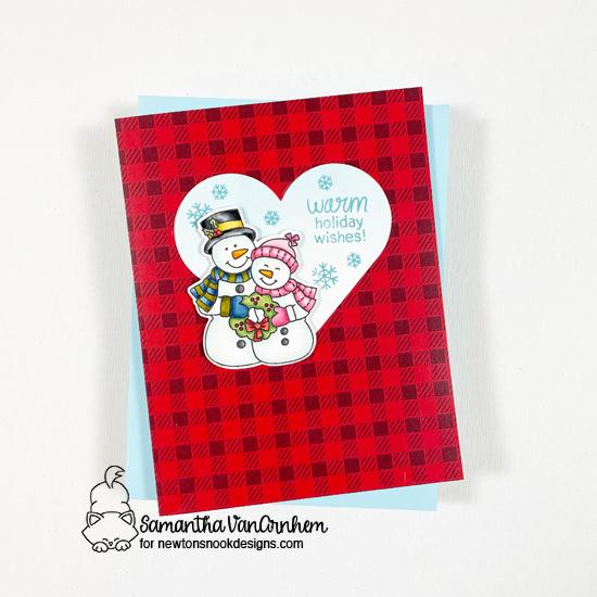 Snowman Christmas Card by Samantha VanArnhem | Snow Much Cheer Stamp Set, Meowy Christmas Paper Pad, and Heart Frames Die Set by Newton's Nook Designs