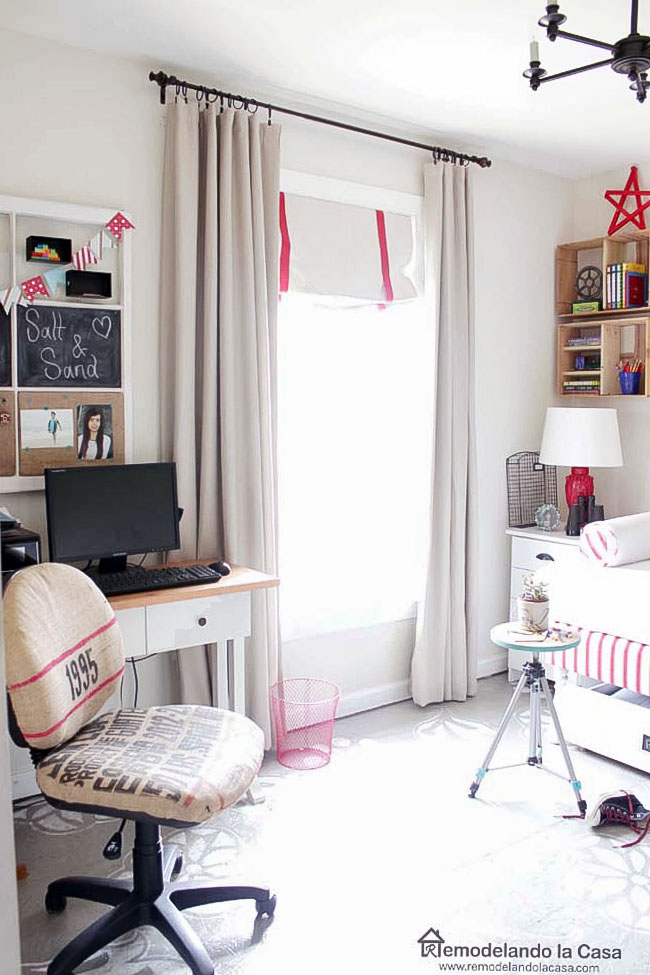 guest bedroom / office decorated for Fourth of July