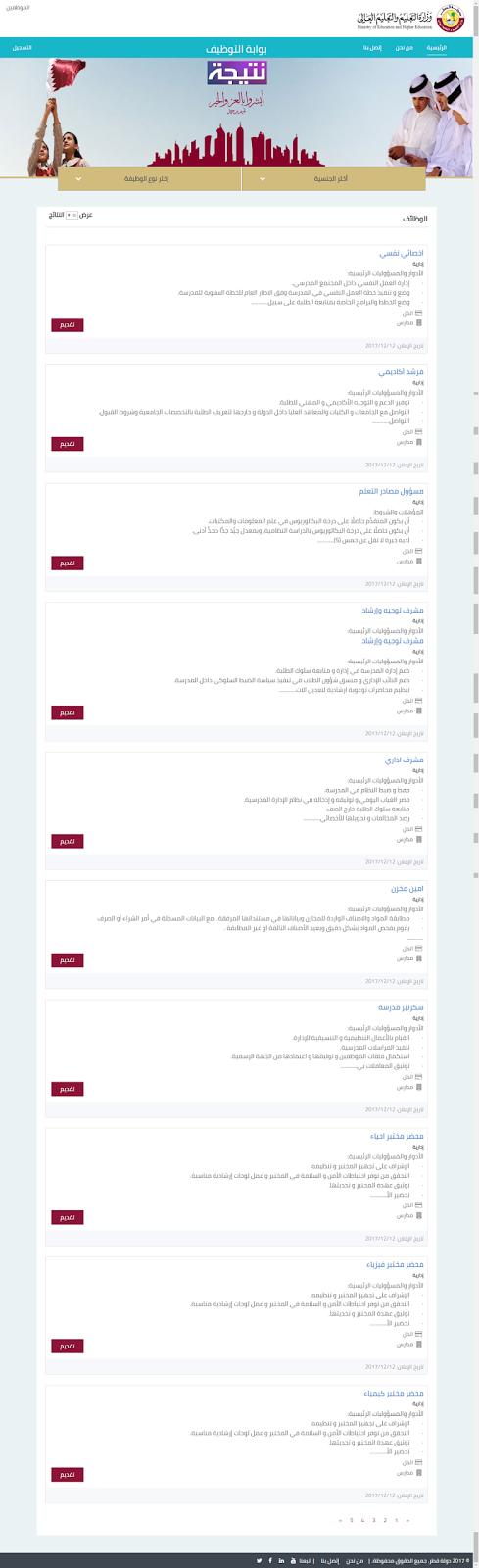 اسماء المقبولين في المجلس الاعلى للتعليم في قطر 2017 2018
