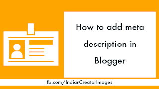 How to add meta description in Blogger