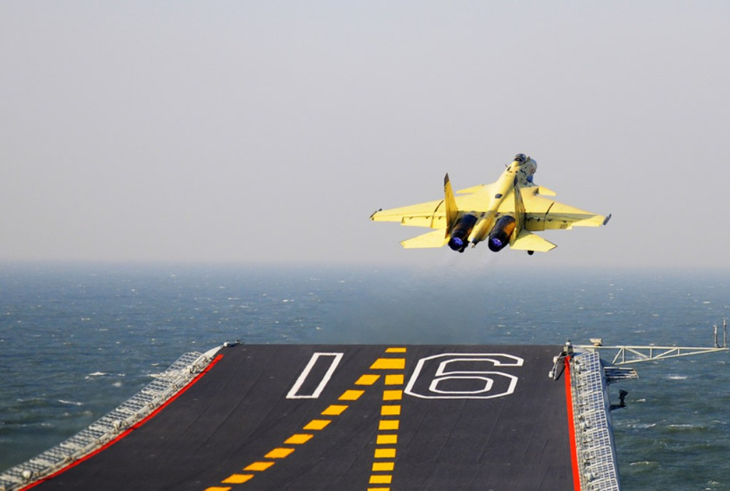 J-15 Fighter Jet Taking Off From Ski-Jump Ramp | Chinese ...