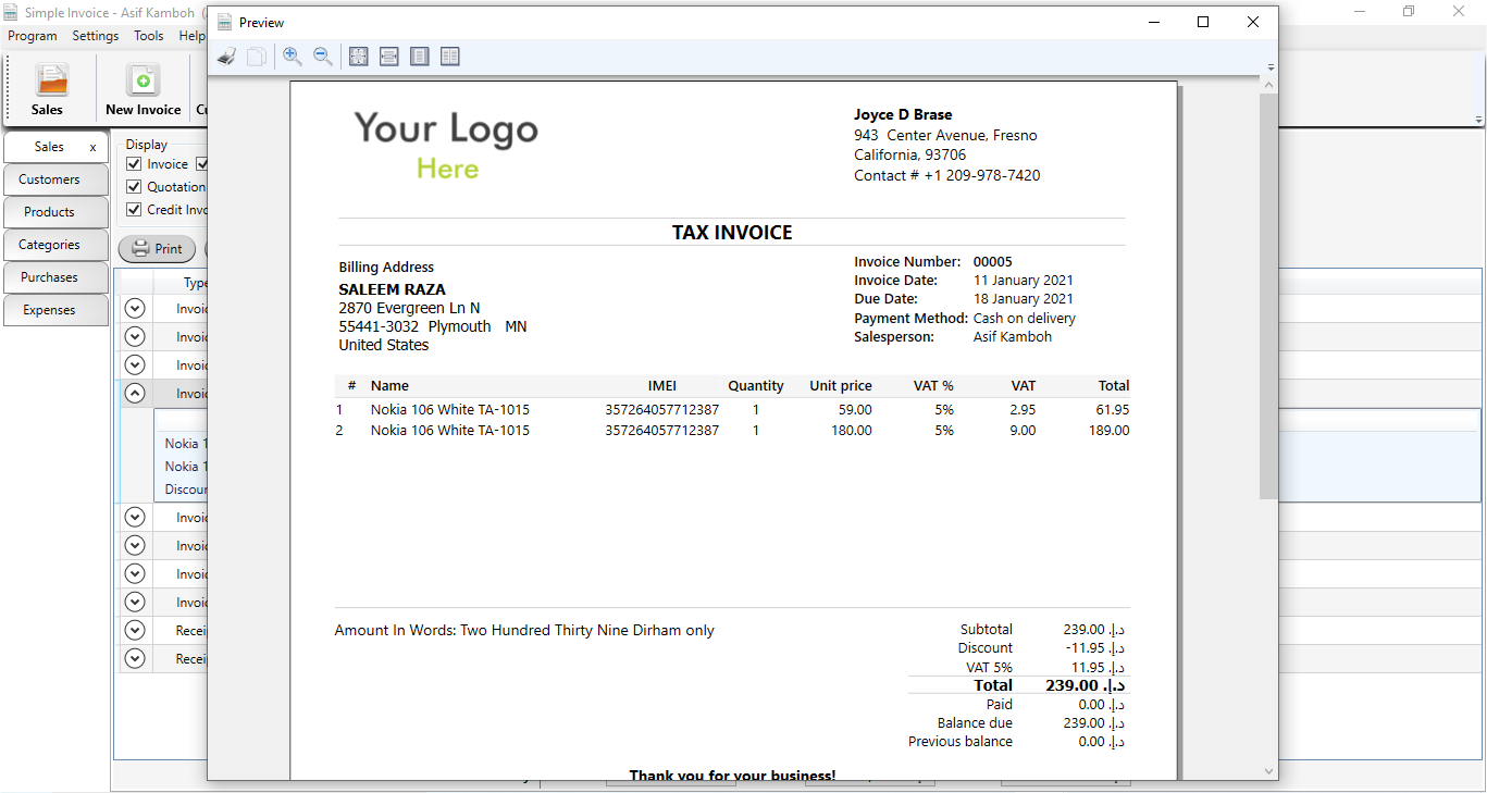 Simple Invoice Classic Desktop Software