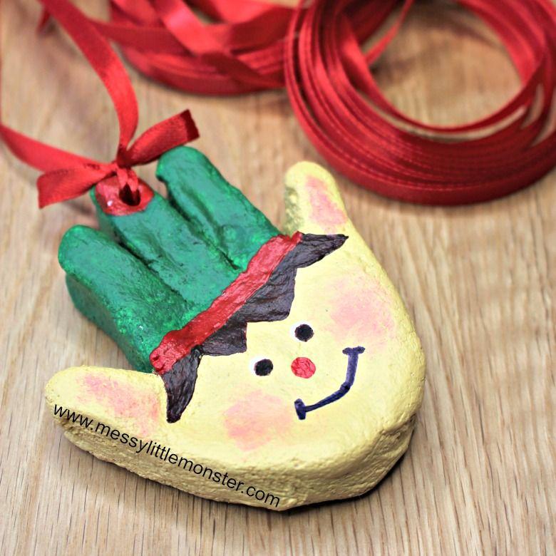 Elf salt dough handprint ornaments