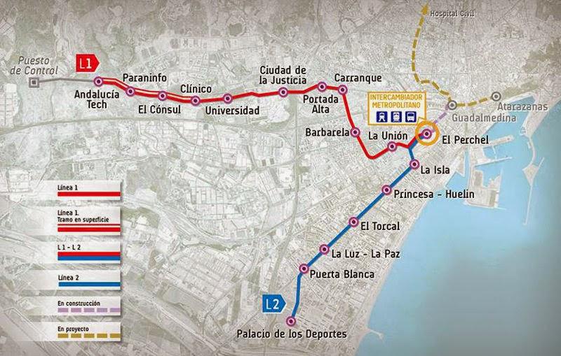Metro Málaga. Mapa