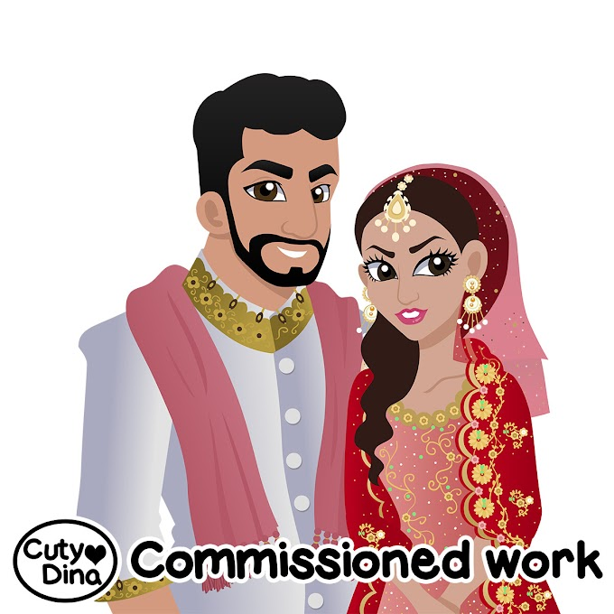 Indian Wedding Cartoonish Portraits