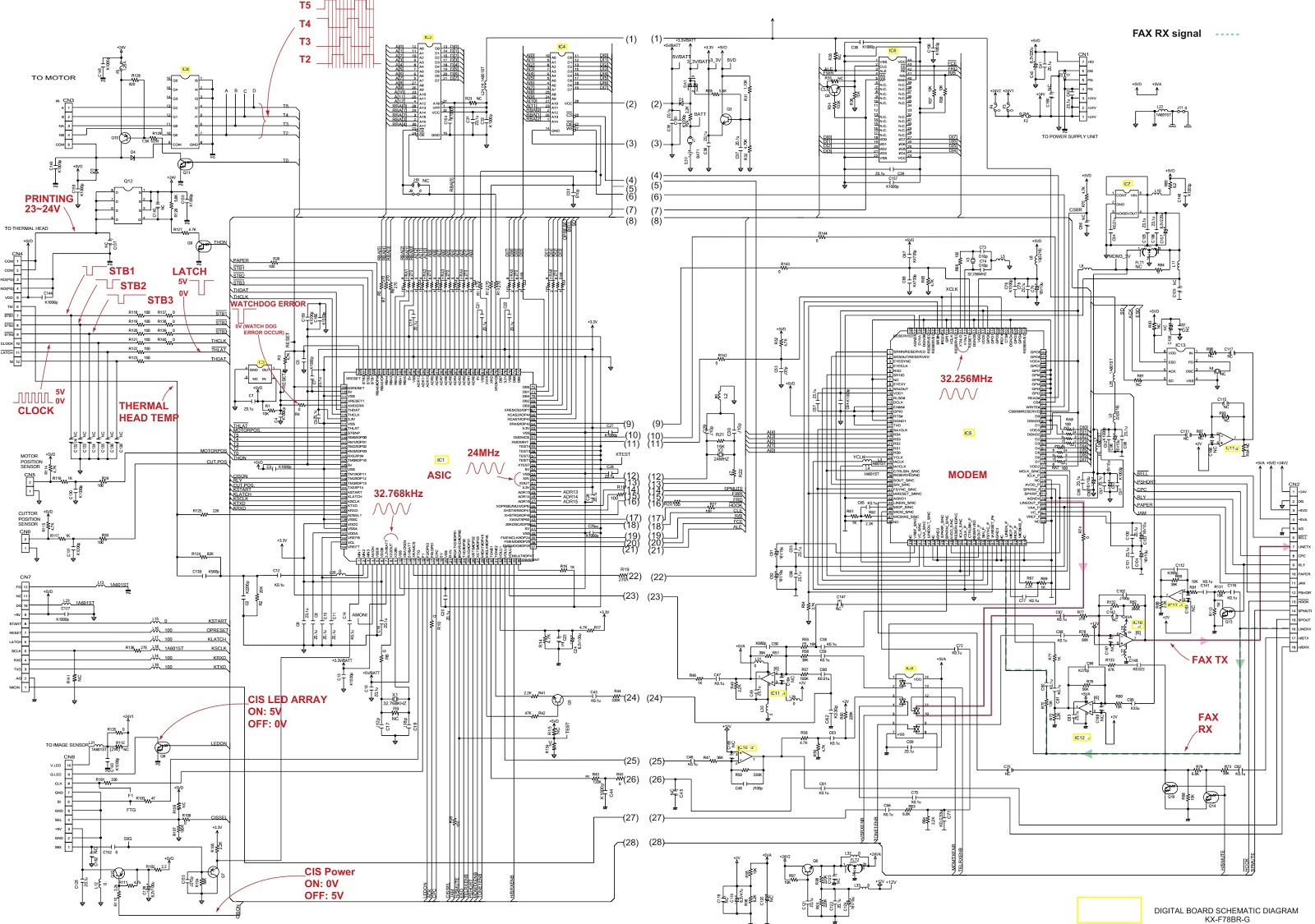 Panasonic KXFT78BRG POWER SUPPLY BOARD SCHEMATIC DIAGRAM