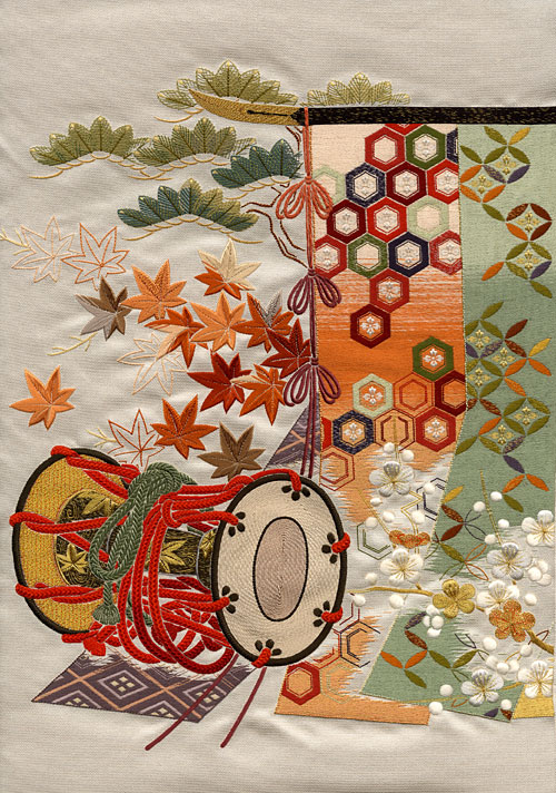 Japanese embroidery, obi