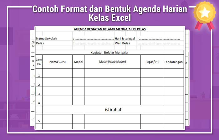 Contoh Format dan Bentuk Agenda Harian Kelas Excel