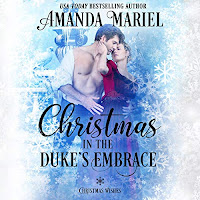 Christmas in the Duke's Embrace audiobook cover. A bare-chested man in an unbuttoned white shirt caresses a woman in a red dress against a snowy blue backdrop.